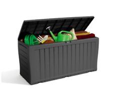 Keter Wood Effect Garden Storage Box Grey Lockable Garden Patio Bench Extra Seat
