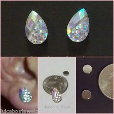 MAGNETIC Clear Iridescent Teardrop Stud 13 mm Sparkle Non Pierced Earrings #M100