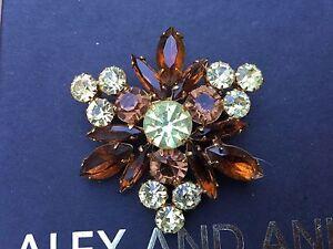 NEW ALEX and ANI SIGNED VINTAGE 66 Amber Topaz SWAROVSKI Crystal Brooch PIN 💎