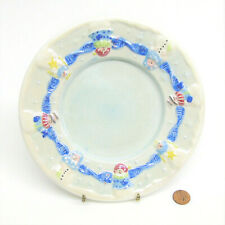 "Yankee Candle SNOWMAN CANDLE JAR PLATE 7.5"" Nancye Williams 2001 Iridescent Blue"