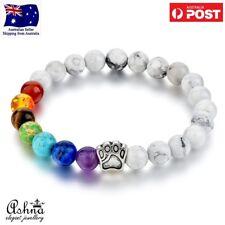 Multicolor 7 Chakra Natural Stone Howlite White Bracelet for Women Girl Gift