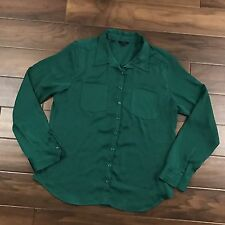 Guess Womens Large Emerald Green Long Sleeve Button Up Shirt Top Blouse Satin