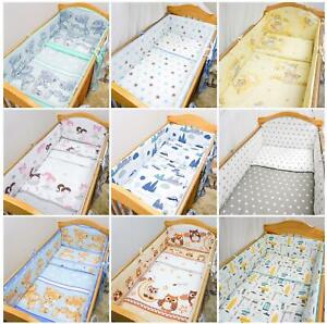 Padded All Round Bumper 4 Sided To Fit Baby Cot CotBed Bedding 120x60 140x70
