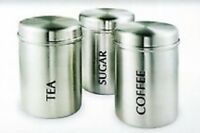 High Quality Stainless Steel Set Of 3 Canisters Tea Coffee Sugar Storage Jars