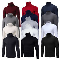 Men High Neck Turtleneck Cotton Pull Over Sweaters Stretch Jumper M-2XL Top