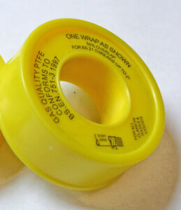 PTFE tape, Yellow Gas Quality 5m length x 12mm width 1 ROLL.   6963
