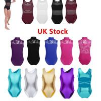UK Kid Girl Ballet Dance Leotard Gymnastics Jumpsuits Metallic Dancewear Costume