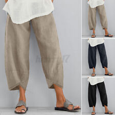 Womens Ladies Elastic Waist Baggy Pants Crop Cotton Linen Loose Harem Trousers