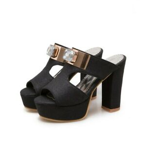 Sequins Slipper Pumps Women's Sandals Peep toe Rhinestones Platform High Heels