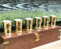 Brass Shot Glasses  Anchors in Custom Handmade Wooden Box Best Christmas Gift