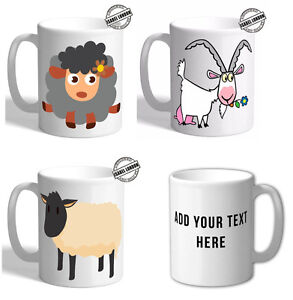 Personalised Funky Goat Sheep Mug & Coaster. Customise with your own text. FOC