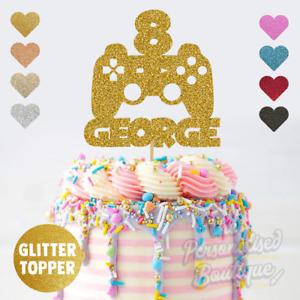 Personalised Custom Glitter Playstation Controller Boys Birthday Cake Topper