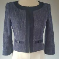 Hobbs Women's Jacket Blue Size 8 Cotton Mix Cropped Knit Evening VGC