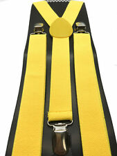 NEW Punk Goth Yellow SUSPENDERS ELASTIC BRACES CLIP ON Y-SHAPE