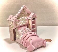 Dollhouse Miniature 1:24 PLAYHOUSE BED Hand-painted ARTISAN Pink Bed Furniture