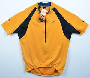 Vintage Nike ACG Men's Large Cycling Mustard Yellow USA Half-Zip Bike Jersey