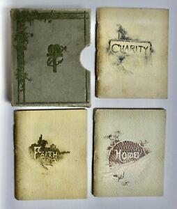 Set 3 Victorian Miniature Books In Slipcase, Faith, Hope & Charity, Chromo-Litho