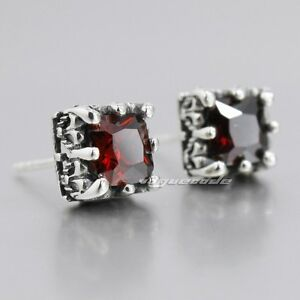 Red CZ Stone 925 Sterling Silver Square Mens Biker Punk Stud Earring 8R001A