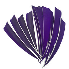 "Archery Fletches 5"" Shield Cut Purple Traditional Feather Fletchings RW - 50PCS"