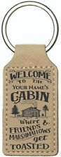 Personalized Key Chain Engraved Cabin Leatherette Keychain