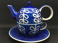 WHITTARD OF CHELSEA TEAPOT CUP COMBINATION TEA 4 ONE IN BLUE & WHITE