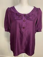 Marc by Marc Jacobs Purple Button Bow Sleeveless Top Size 10