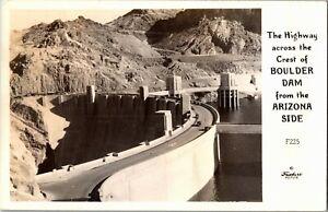 RPPC Highway on Top of Boulder Dam from Arizona Side Vintage Postcard X37