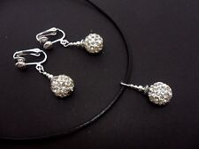 A LADIES LEATHER CORD WHITE SHAMBALLA CHOKER NECKLACE & CLIP ON EARRINGS SET.