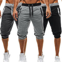 Men's Casual Sport Cargo Overall Pants short Sweatpants Cropped Trousers Capris