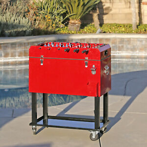Clevr 68 Quart Rolling Foosball Cooler Ice Chest Patio Outdoor Party Portable