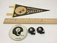 Vintage Pittsburgh Steelers Mini Pennant, Gatorade Lid, & 2 Helmet Push Pin