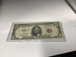 1963 $5 dollar bill red seal
