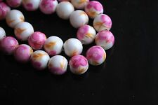 20ps Ceramic Porcelain Round Pink Flower Beads 10mm Spacer Jewelry Findings