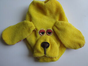 """1978 Fisher Price #438 ANIMAL GRABBER Yellow Dog 4"""" Rattle Toy Quaker Oats"""