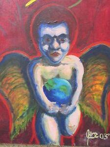 Original oil painting of dark angel, amateur artist