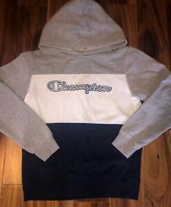Champion Logo Hoodie Sweatshirt Pullover-Boy's L-Color Block Gray/Navy/White EUC