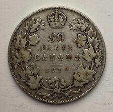 CANADA 1919 50 CENTS HALF DOLLAR KING GEORGE V CANADIAN .800 SILVER D8
