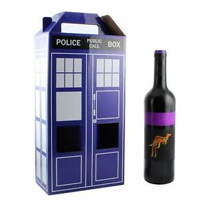 Dr Who Tardis EZ Wine Gift Box Reusable Wedding Birthday Caddy Holds 2 Bottles