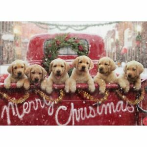 Avanti Press Lab Puppies In Red Truck Dog Christmas Card