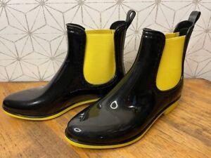 Forever Tenno Short Waterproof Rain Boots Women's 6.5 M Black & Yellow 6.5M