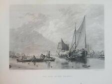 Antique POOL OF THE THAMES 1880 Appleton Miller Callcott Old Original Art Print