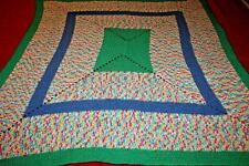 """Handmade Crochet Multi Colored Lapghan Afghan Throw Blanket 48"""" x 42"""""""