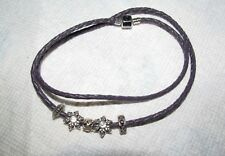 New Chamilia Leather Wrap Around Bracelet or Necklace with 5 Beads - 22 Inches