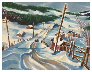 Signed Original American Regionalism Watercolor - Winter Landscape