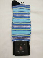 Robert Talbott Dress Socks, blue yellow white stripes, navy heel & toe,new,10-13