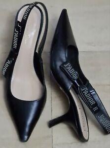 Christian Dior Black   Leather Bow Studed  Slingback   Heel ~ Eu  Size 40.5