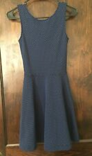 Frenchi Fit & Flare Dress Sz XS Stretch Knit Black/Blue Polka Dot