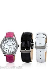 GUESS WHITE+FUCHSIA+BLACK CROC LEATHER INTERCHANGABLE+SILVER WATCH SET W11130L1