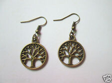 Pretty Bronze Life Tree Charms Pendant European Dangle Earrings(1 Pair)