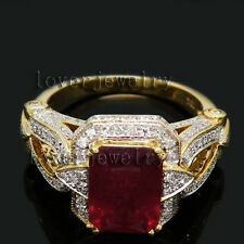 3.42CT Solid 14K Yellow Gold Genuine Natural Brilliant Diamond Blood Ruby Ring